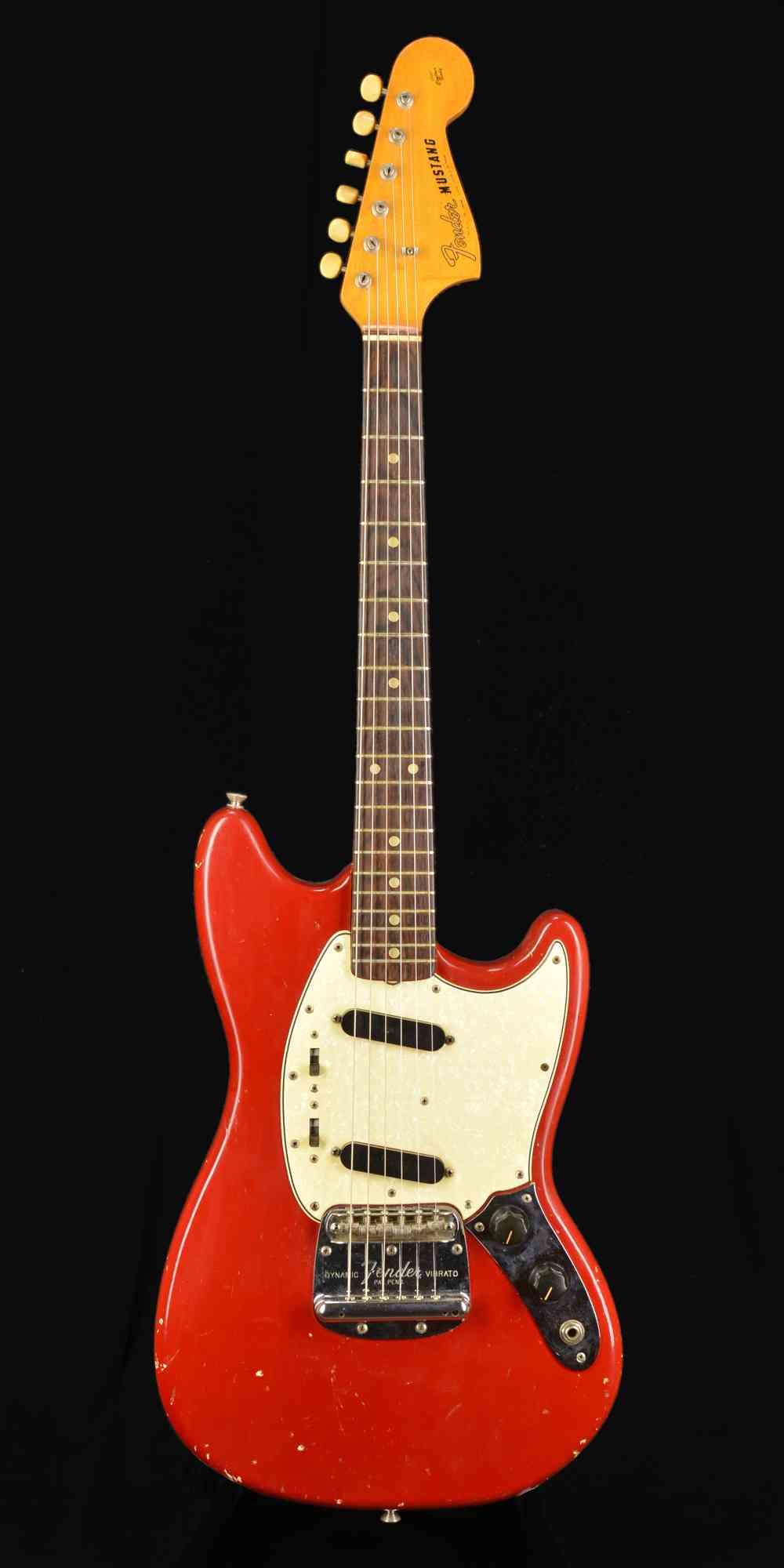 Front view of Fender Mustang 1965 Dakota Red