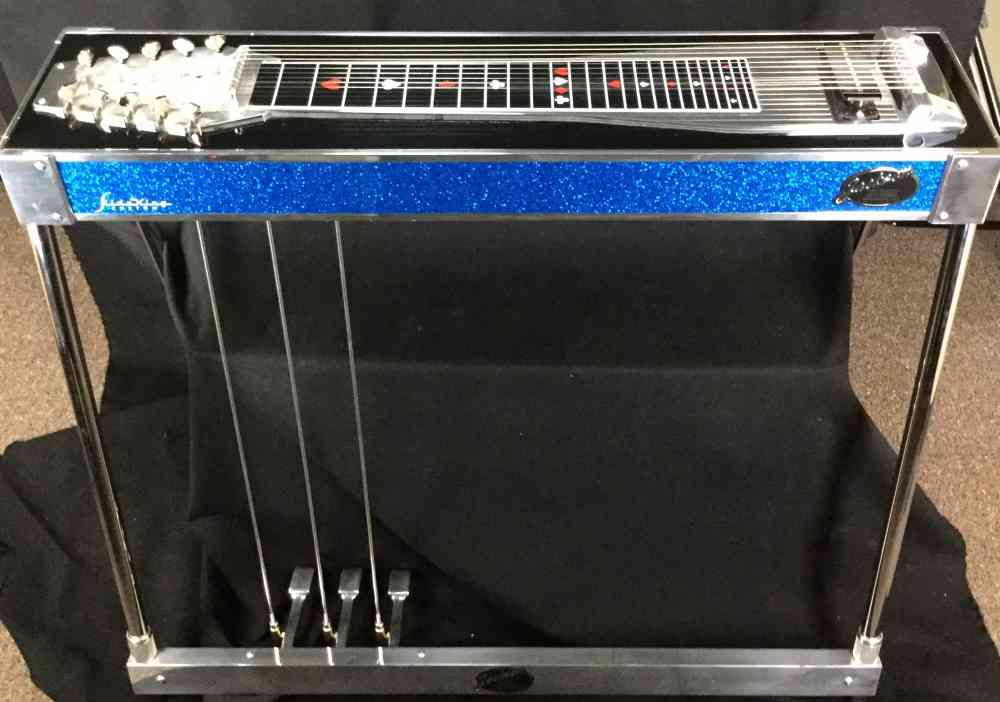 Front view of Jackson SlideKing Custom Left Handed  Blue Sparkle