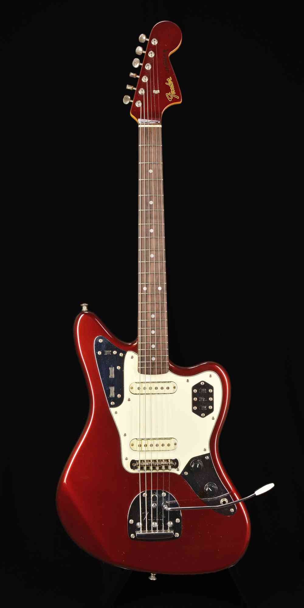 Front view of Fender Jaguar  Candy Apple Red