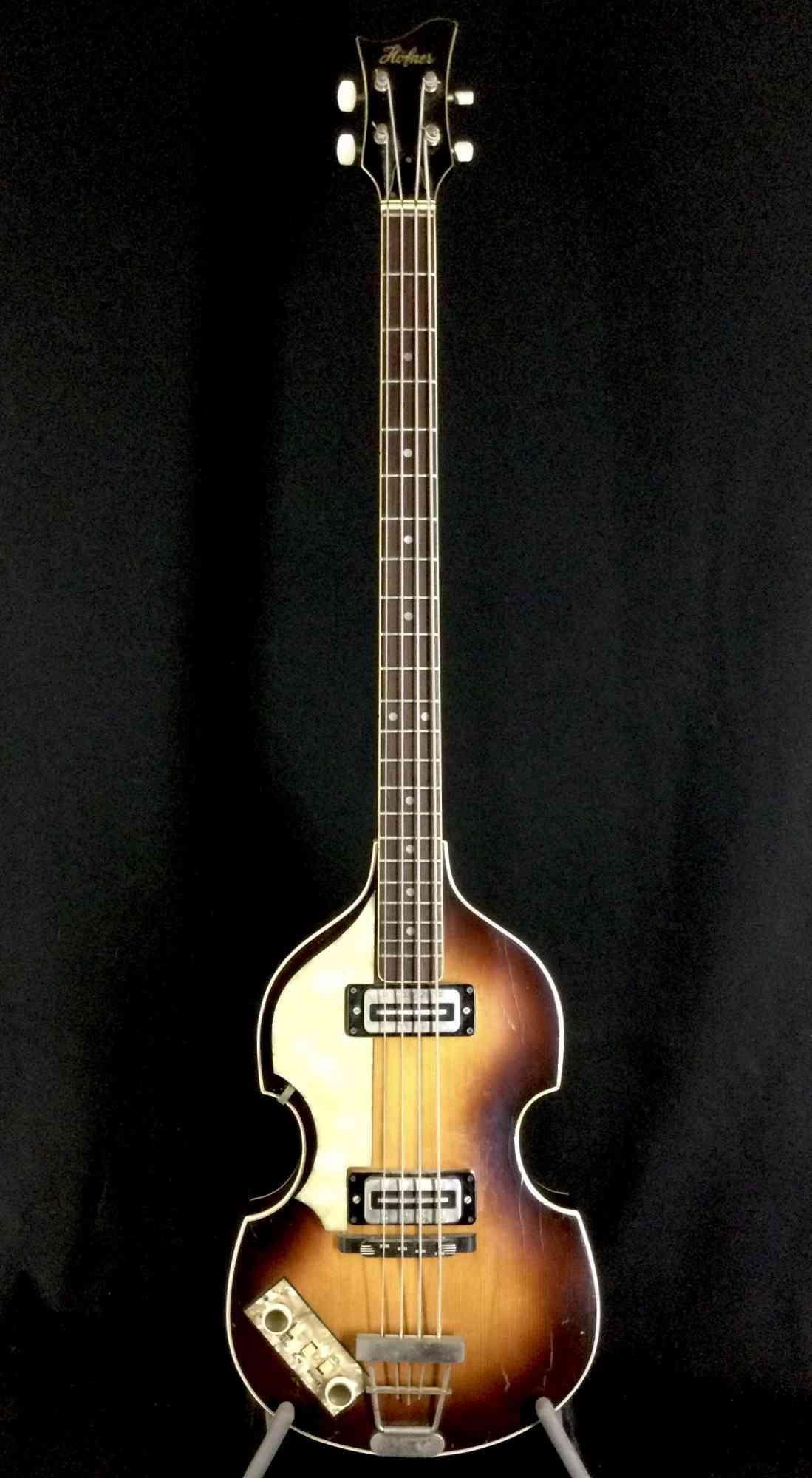 """Hofner Lefty 500/1 """"Beatle Bass"""" 1970 Sunburst. Click to enlarge"""